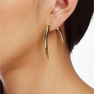 Gold Claw Dagger Double Sided Tusk Earrings
